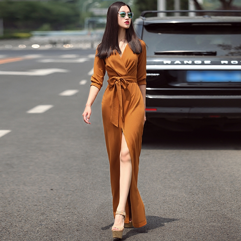 2017 Spring Fashion Dresses Women Sexy Dress V-Neck 3/4 Sleeve Solid Split Skirt Casual Long Dress Plus size S-XXL sexy knitted long sleeve deep v neck pack hips women dress fashion solid mini sheath summer dresses new 2017 casual vestido s xl