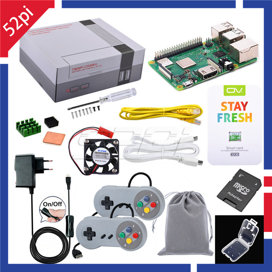 52Pi Retroflag Original NESPI Case+ Plus Retroflag With Optional Raspberry Pi 3B+ (Plus), Power Adapter, Game Controller DIY Kit