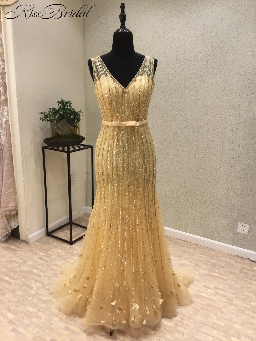 abendkleider New Luxury Long   Prom     Dresses   2018 V-Neck Cap Sleeve Floor Length Beading Tulle Mermaid Evening   Dress   Vestido longo