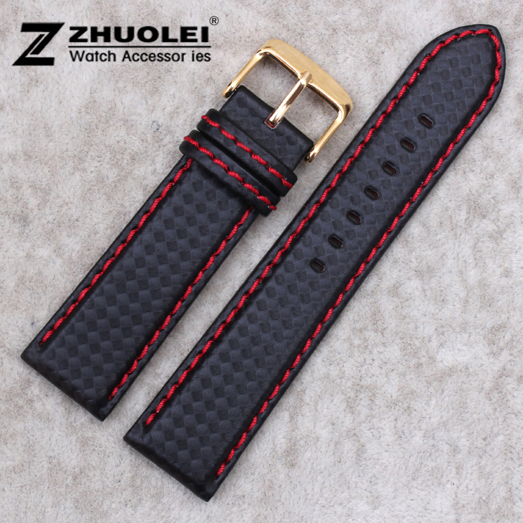 18mm 20mm 22mm 24mm Red Stitched Mens Black Carbon Fiber Genuine Leather Watch Band Strap Gold Stainless Steel Gold Buckle Clasp evolis avansia duplex expert smart