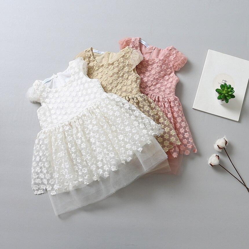 ФОТО Fresh Sweet Girls Embroidered Lace Sleeve Wave Hem Spring Summer Children Flying Princess Dress Clothing Wholesale