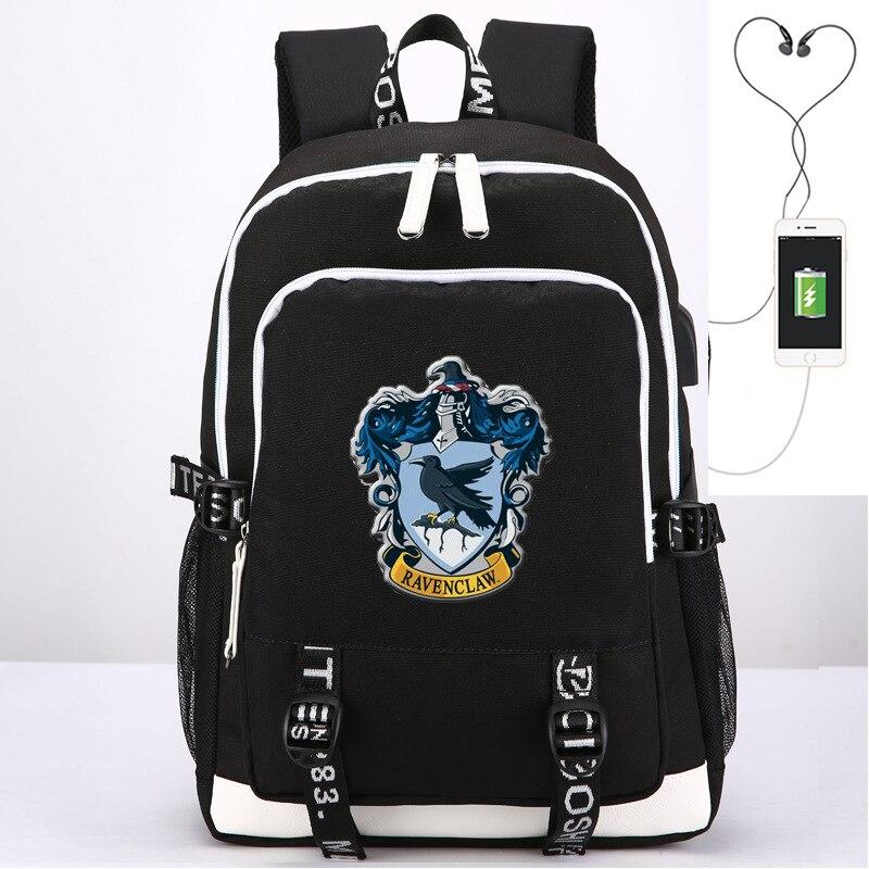 2018 Harri Potter gryffondor Ravenclaw Hufflepuff Slytherin impression sac à dos USB charge sac à dos pour ordinateur portable toile sacs d'école