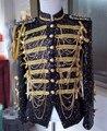 Las borlas Epaulet oro cadenas de los cequis de la chaqueta prendas de vestir exteriores superior para hombre DJ cantante DS danza etapa desgaste rendimiento trajes chaqueta