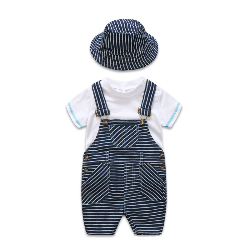 Newborn Baby Clothes Cotton Boys Suit Sets white t-shirt + Striped Hat + Overalls Outfits Set Casual Boy Clothes Summer 2018 new cotton baby boy clothes summer toddler boys striped rompers sunhat 2pcs clothing set gentleman suit kids clothes