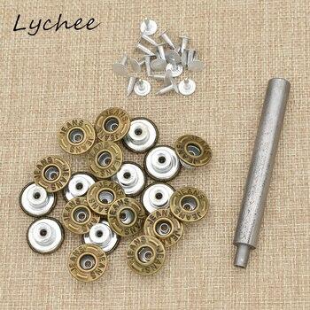 Lychee 20 sztuk klasyczne dżinsy przyczepność przystawki przycisk z ćwiekami nitami z narzędzie instalacyjne odzież z denimu przyciski dekoracyjne