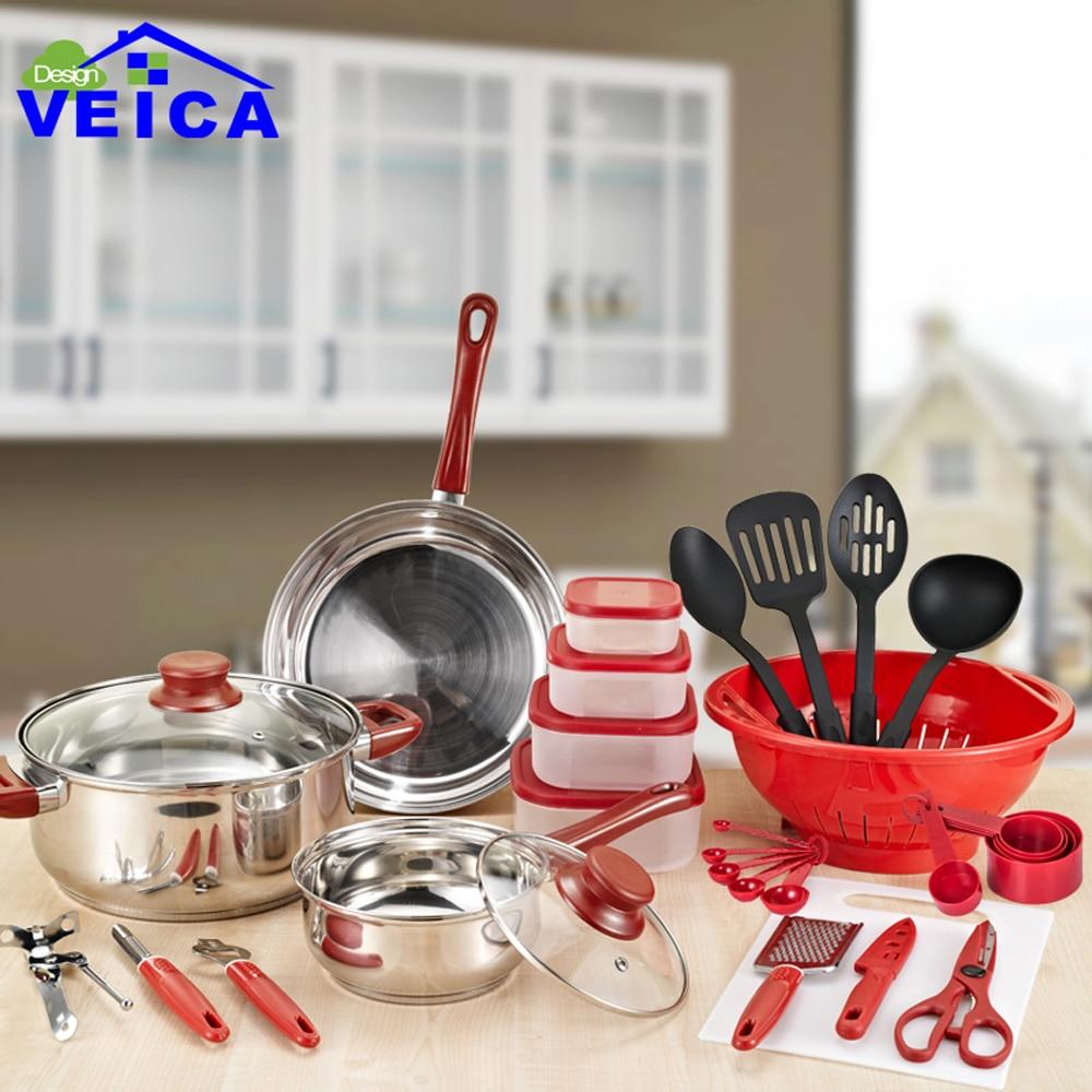 2019 Panelas De Ceramica llegada Fda Top moda Real utensilios De cocina macetas y sartenes conjunto 35 piezas cocina Starter Combo utensilio