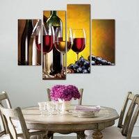 4 Painel de Pintura Da Lona Da Arte Da Lona Sem Moldura Decoração de Casa retrato Da Parede do Vinho Para Cozinha Modular Pinturas Na Parede