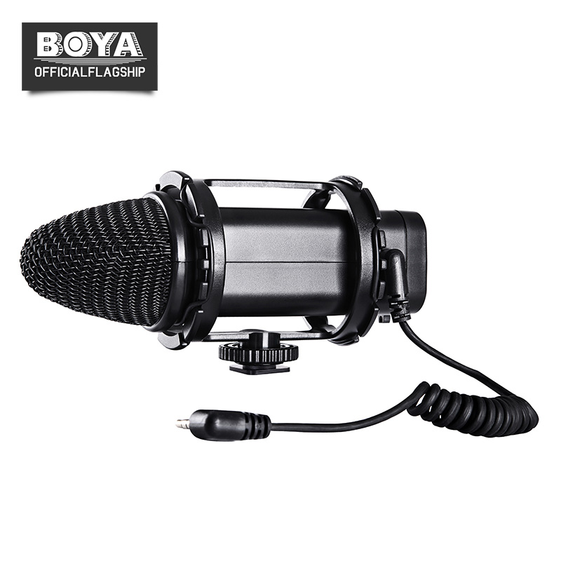 BOYA BY-V02 Stereo Condensor Microphone Compact External Mic for DSLR Canon 5D2 5D Mark III 6D 600D Nikon D800 Audio Recorders цены онлайн