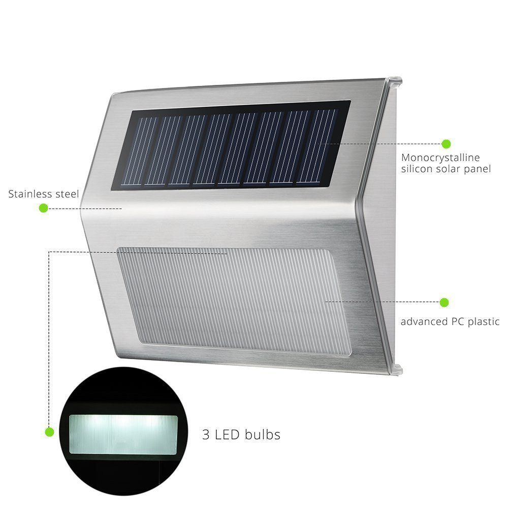Waterproof LED Solar Light Wireless Stainless Outdoor LED Solar Lamp for Staircase Deck Walkway Patio Yard Patio Wall Lamp