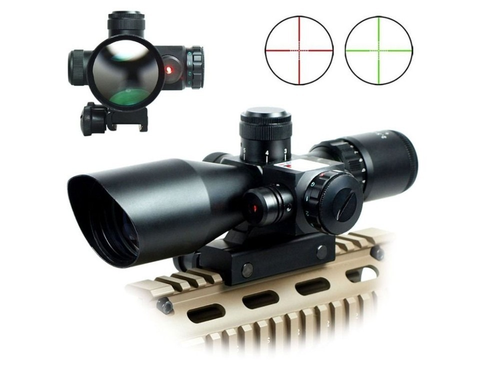Tactical 2.5-10x40 Riflescope Red Green Dual illuminated Mil-dot Rifle Scope with Red Laser Sight Hunting Caza Pistol Airsoft