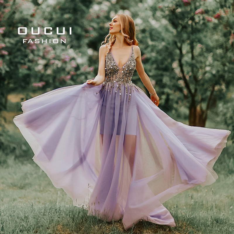 Real Photo Ball gown Spaghetti Strap Illusion Hand Work Beaded Train Long Prom Evening dress 2019 Deep V New OL103012 Платье