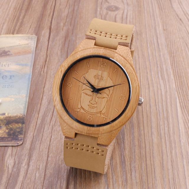 Wooden Watch Engraved with Yogi Buddha