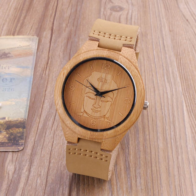 5f3be63c886c Online Shop 2018 Bamboo Wood Watch Minimalist Buddha Genuine Leather Band  Strap Nature Wood Bangle Wristwatch Unisex Reloj Hombre Clock