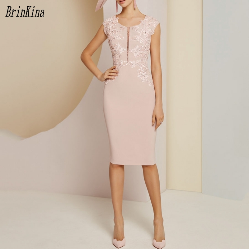 Brinkina 2019 New Scoop Neck Sheath Knee Length Applique Cap Sleeve Rose Pink Mother Of The Bride Dress Party Of Wedding Guest