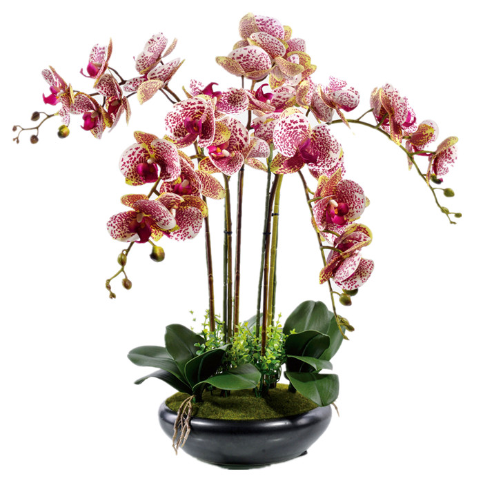 Real Touch Flower Bouquet Flower Arrangment Orchids With Leaves Wedding Party Fake Flower Decorative Event Flower
