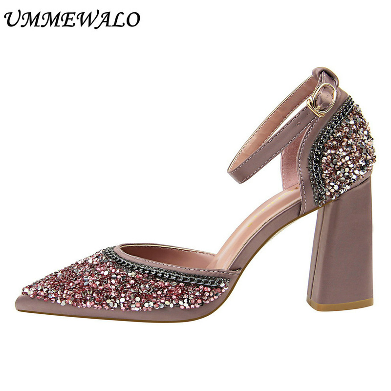 UMMEWALO Ankle Strap High Heel Shoes Women Chain Design Sexy Pointed Toe Sandals Woman Square Heel