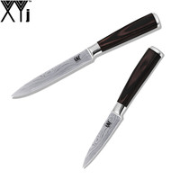 XYj Brand 2 Pcs Set 7Cr17 Stainless Steel Kitchen Knife 3.5 Inch Paring 5 Inch Utility Beauty Pattern Blade Best Cooking Knife