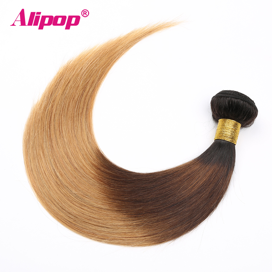 Ombre Brazilian hair Straight 3 Bundles 3 Tone 1B427 Colored Human Hair Weave Bundles Deal Non Remy Hair Extensions ALIPOP (1)