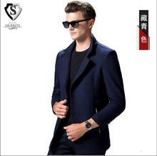 Новый шерстяные пальто мода Зима peacoat мужская однобортный шерстяное пальто теплая одежда M-3XL плюс размер w1722
