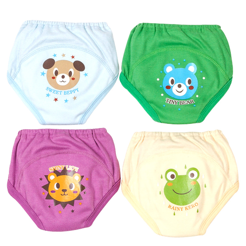 Hilenhug 4 PCS/Lot Potty Training Pants Baby Learning Nappies for Toddler Boy Girl Panties Reusable Washable Cotton Diapers