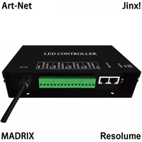 led artnet controller supports artnet protocol,4 universes,each universe supports 680 pixels,work with Resolume,MADRIX,Jinx!,etc