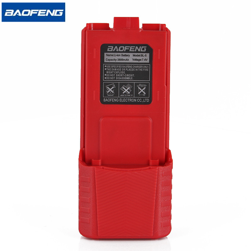 Baofeng UV-5R Rouge Talkie Walkie Batterie BL-5 Étendue 3800 mAh 7.4 V Li ion Batterie Rechargeable Batterie pour UV-5R BF-F8 Radio