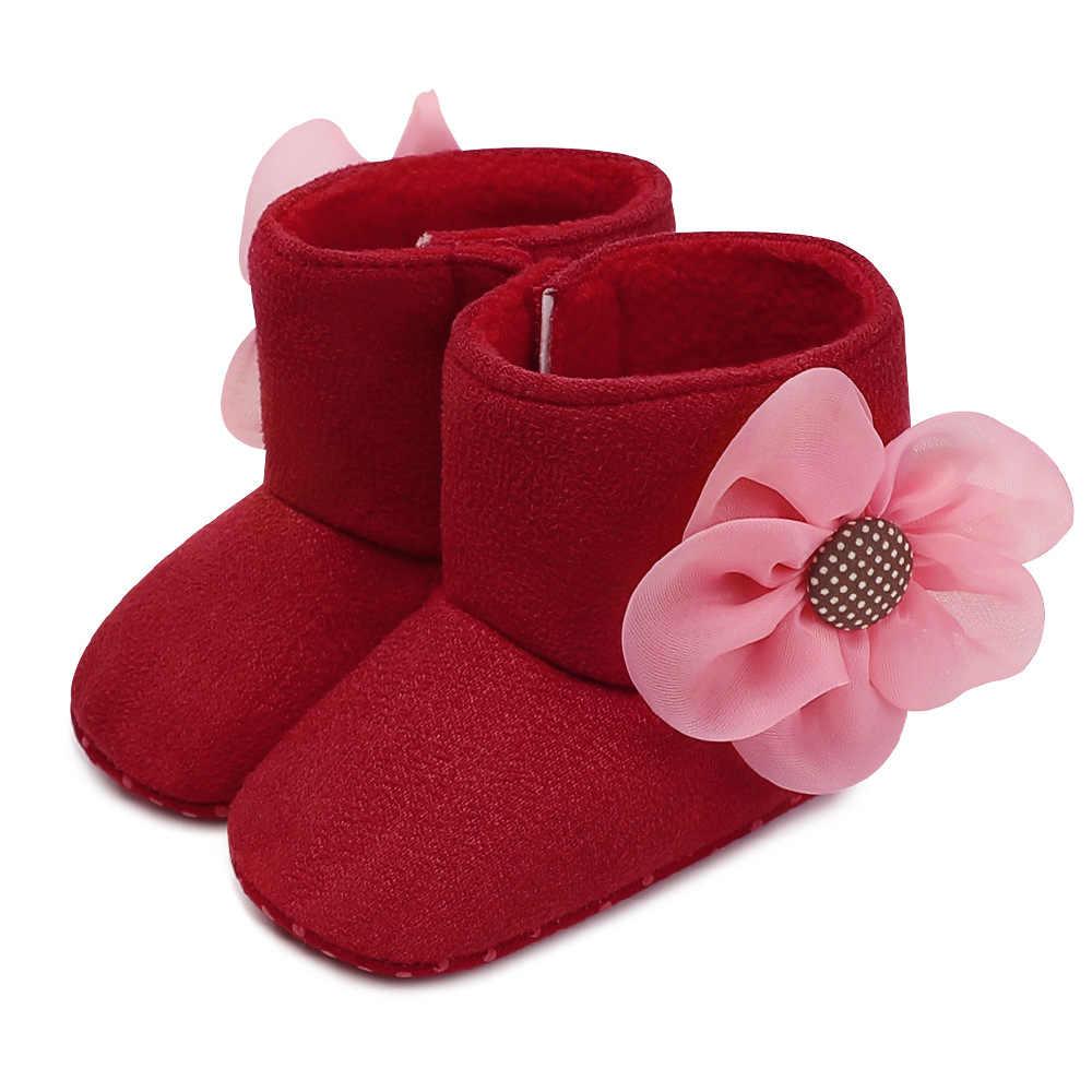 Weichen Boden Winter Warme Prewalkers Schuhe Baby Infant Kleinkind Blume Muster Stiefel Unisex High Top Schuhe Für Jungen Mädchen