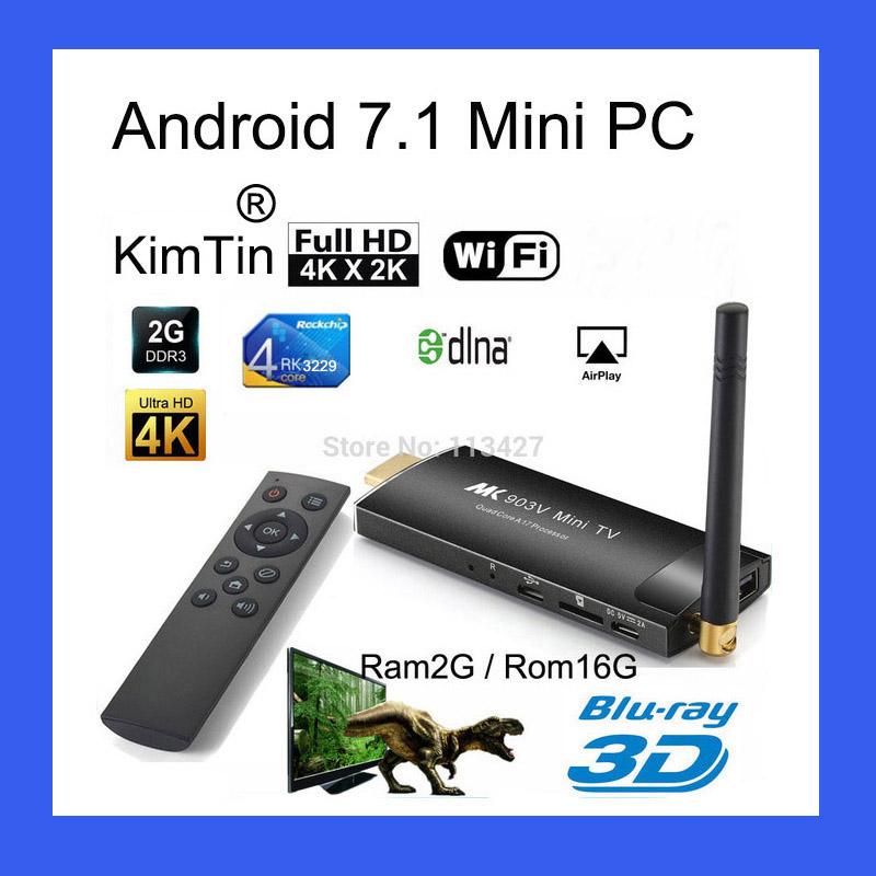 KimTin MK903C Android TV Stick RK3229 Quad Core 2 GB 16 GB OS 7.1 4 K Wifi TV Dongle Miracast TV Player Smart Mira Screen Mini pcKimTin MK903C Android TV Stick RK3229 Quad Core 2 GB 16 GB OS 7.1 4 K Wifi TV Dongle Miracast TV Player Smart Mira Screen Mini pc