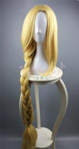 Image 5 - Tangled Cosplay Wig Princess Rapunzel Long Braids Artificial Flowers Headwear Women Blonde Synthetic Hair Adult
