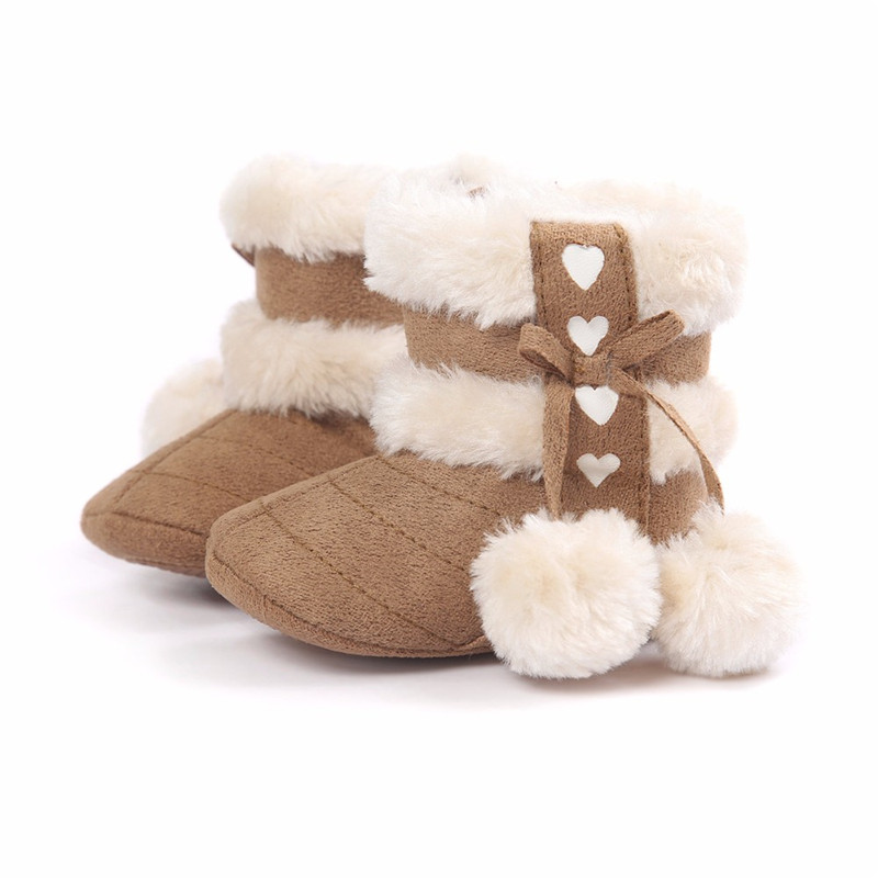 G56 Baby Shoes Girls Warm Winter Shoes Snow Boots Infant Non Slip Booties Prewalkers