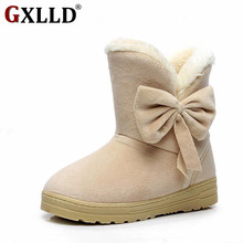 Gxlld Women winter fashion solid snow boots female ankle boots with fur warm boot woman casual shoes botas femininas T037