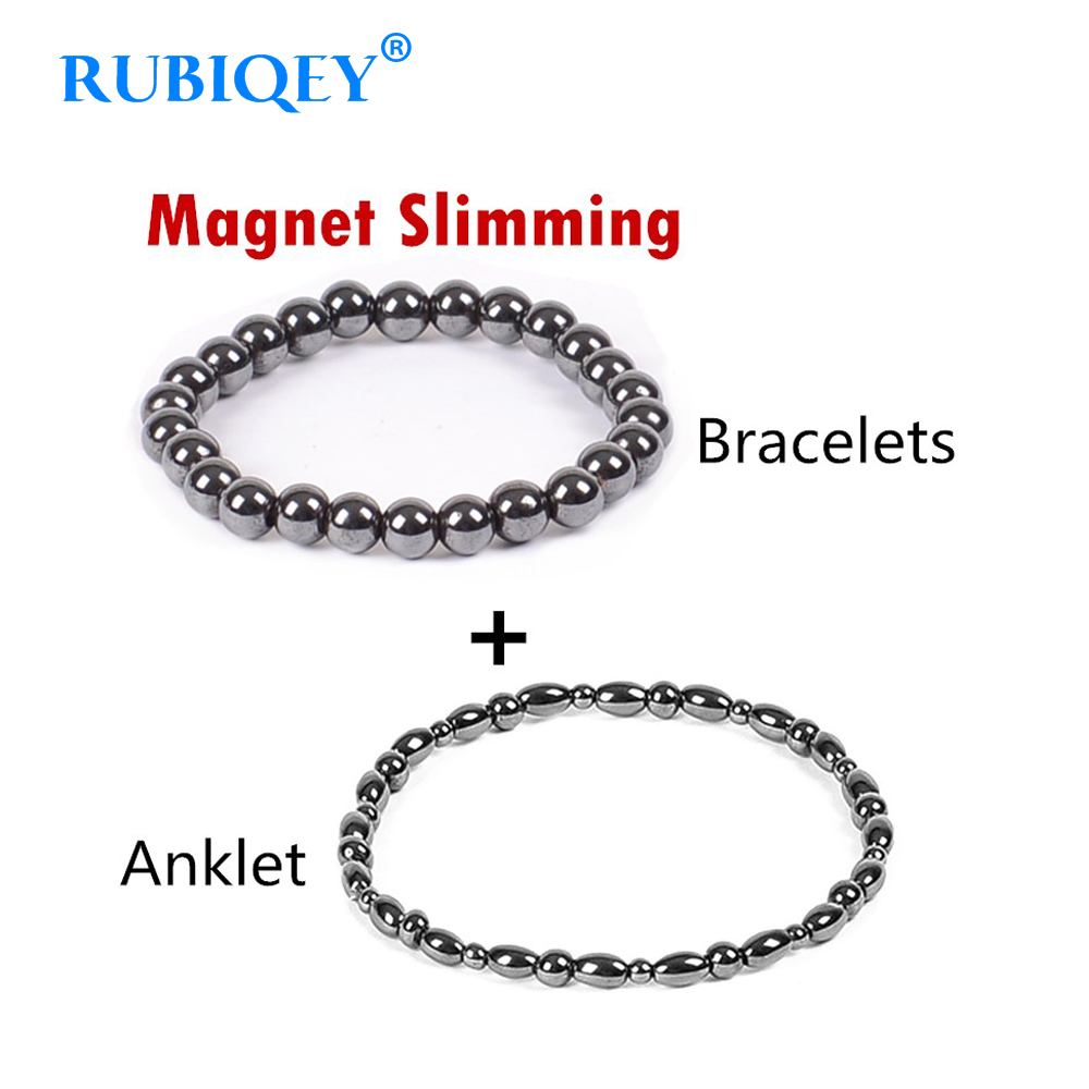 2 Pc/lot Weight Loss Magnet Bracelet+Anklet Black Stone Magnetic Therapy Bracelet Anklet W