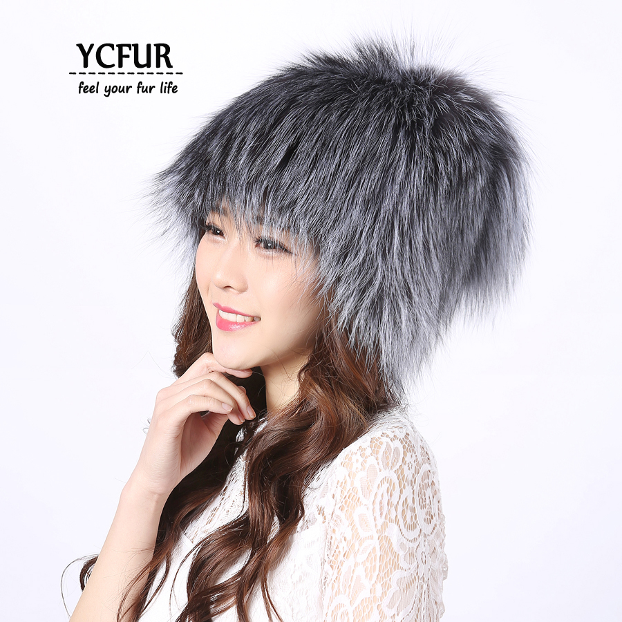 YCFUR Women Hats Beanies Winter Knit Real Silver Fox Fur Hats Caps Winter Warm Natural Fur Hat Female Cap For Girls