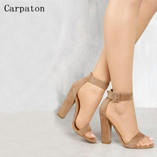 Women Suede Ankle Buckle Strap Open Toe Sandals Elegant Female Summer Chunky Heel Dress Party Gladiator Sandal Shoes