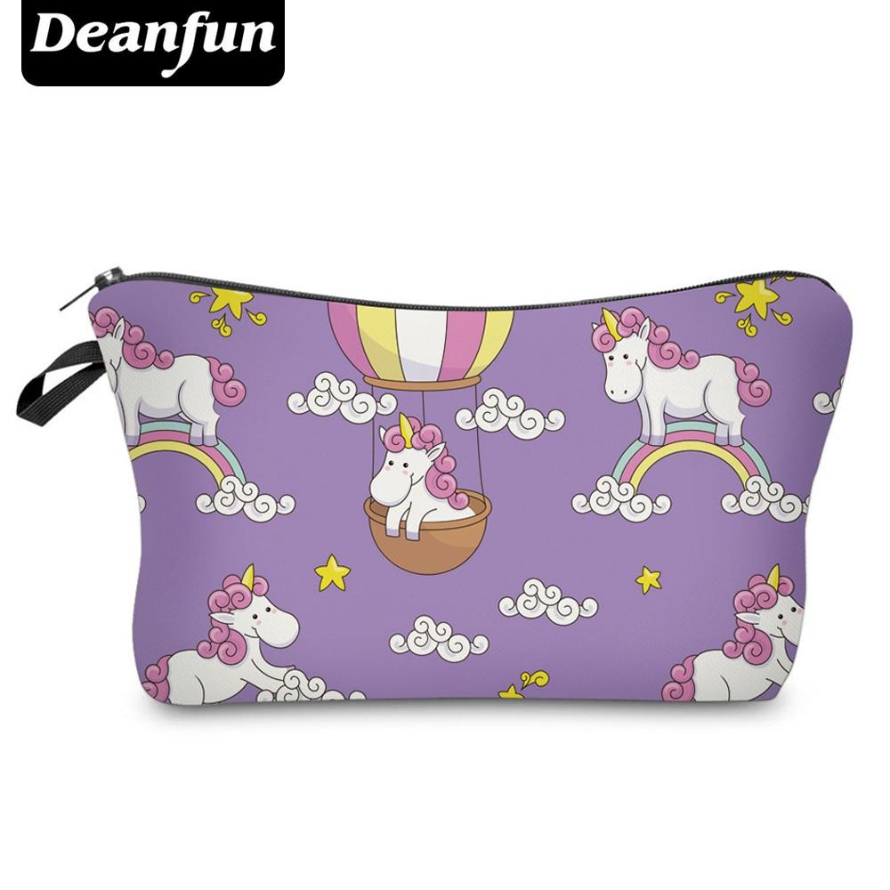 Deanfun 3D Printing Lovely Unicorn Cosmetic Bags Purple with Zipper Women Makeup Organizer 50980