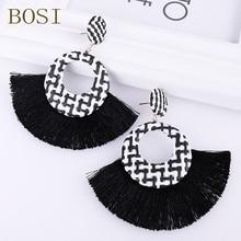 Tassel Earrings for Women 2019 Boho Fashion Handmade Geometric Bohemian Big Long Drop Earring Rattan Fringe black Statement