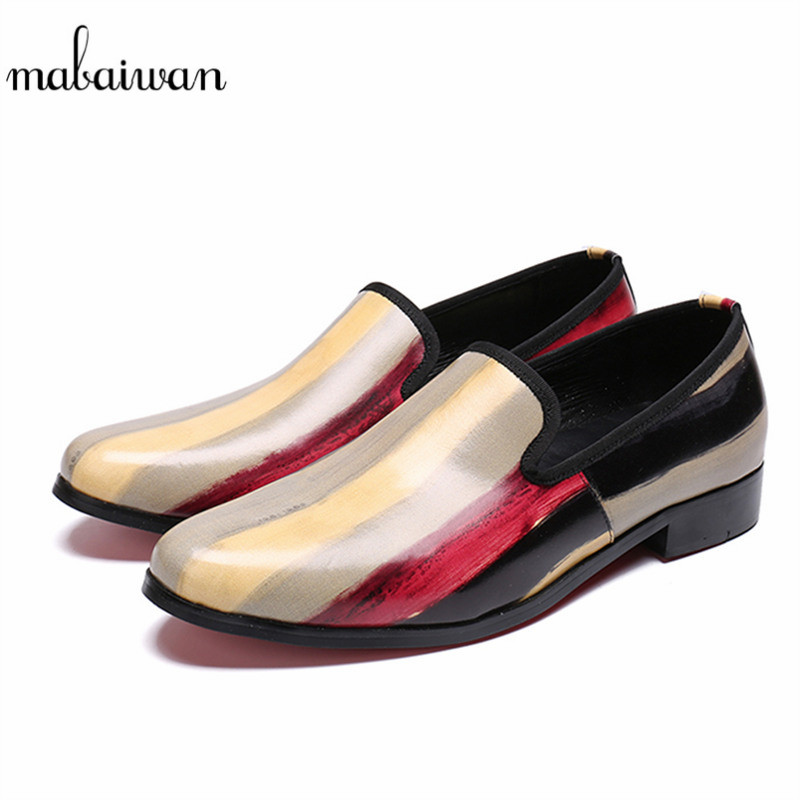 Mabaiwan 2018 Brand Luxury Casual Men's Shoes Handmade Leather Party Wedding Dress Shoes Men Slip On Loafers Office Flats 38-46 new fashion gold snakeskin pattern loafers men handmade slip on leather shoes big sizes men s party and prom shoes casual flats