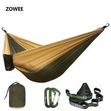 Hamaca de nylon de paracaídas Dropshipping, hamacas de Camping al aire libre persona doble hamaca oscilante portátil