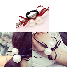 Fashion 1pc Women Girl Cute Bow Hair Rope Pearl Elegant Elastic Band Accessories