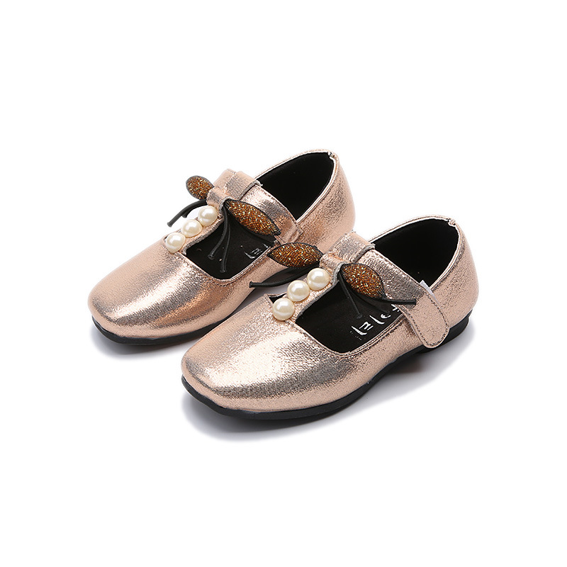 2017 autumn new fashion shoes for girl bow tie fashion shoes golden low dance shoes cute