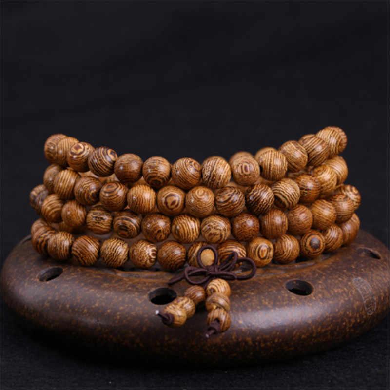 8 cm 108 cuentas de sándalo Rosario pulseras hombres joyería oración pulsera hombre alta calidad pulsera de cuentas de madera Natural para mujer