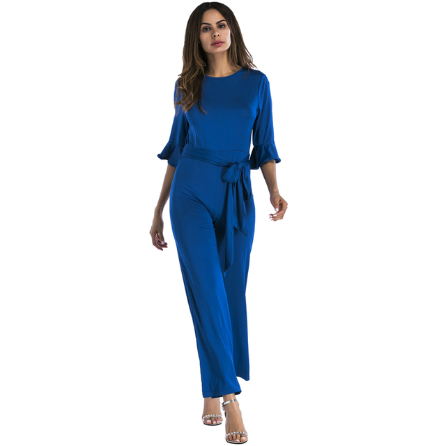 e91096ea0e6 ELegant Streetwear wide leg jumpsuit women 2018 short sleeve loose plus size  tunic party bandage romper blue black red overalls