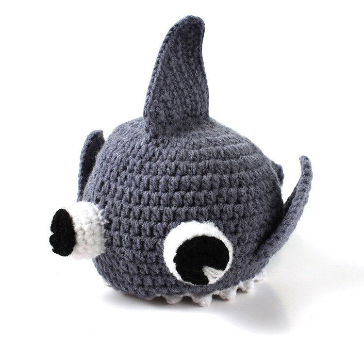 ทารกแรกเกิดทารกที่ทำด้วยมือหมวกเด็กสาวฉลามถักโคร