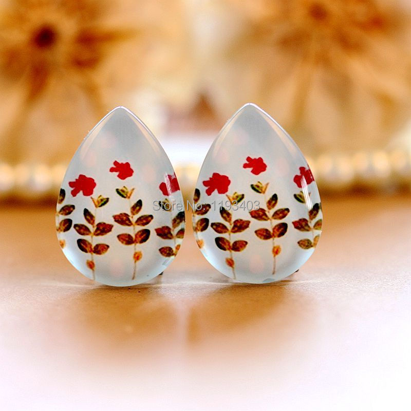 10pcs 18x25mm Teardrop Glass Beads Cabochon DIY For Tray Pendant setting finding-(Flower)-(HPGC-T-180)