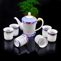 Creative Gift Exquisite Chinese Blue and White Hollow Honeycomb Ceramic Porcelain Glass Kung Fu Tea Set 1 Teapot 6 Teacups