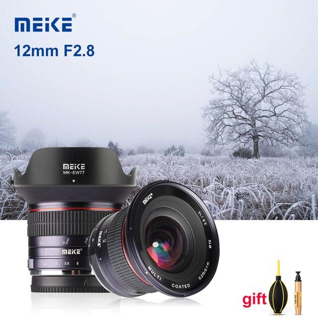 Meike lente de cámara gran angular F2.8 de 12mm lente fija de enfoque Manual de APS C para cámara Canon, EF M, Fujifilm, Sony, Nikon, 1 M4/3
