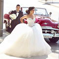Ball Gown Sweetheart Sleeveless Sequins Crystal Sexy Luxury Wedding Dresses vestido de noiva 2016 White Cheap Wedding Dresses