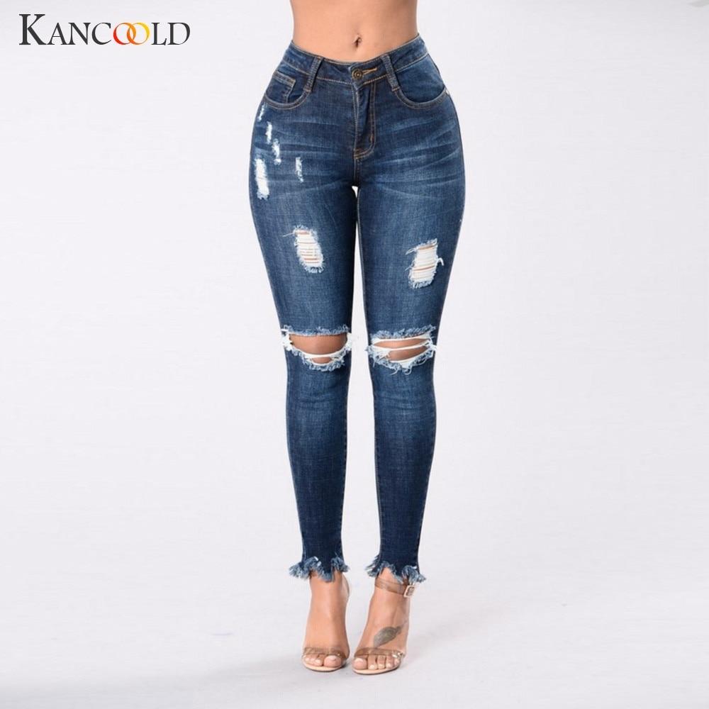 KANCOOLD   jeans   Women Fashion Denim Hole Female Mid Waist   Jeans   Vintage Stretch Slim Sexy Pencil Pants   jeans   woman 2018Oct26