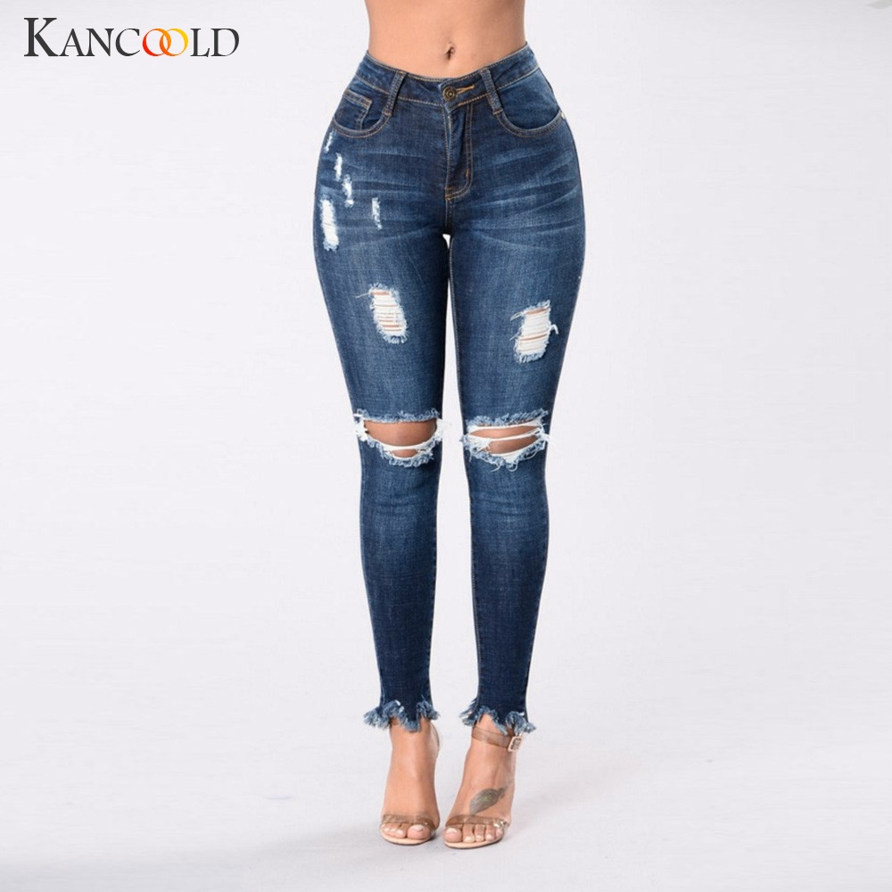 KANCOOLD jeans Women Fashion Denim Hole Female Mid Waist Jeans Vintage Stretch Slim Sexy Pencil Pants jeans woman 2018Oct26