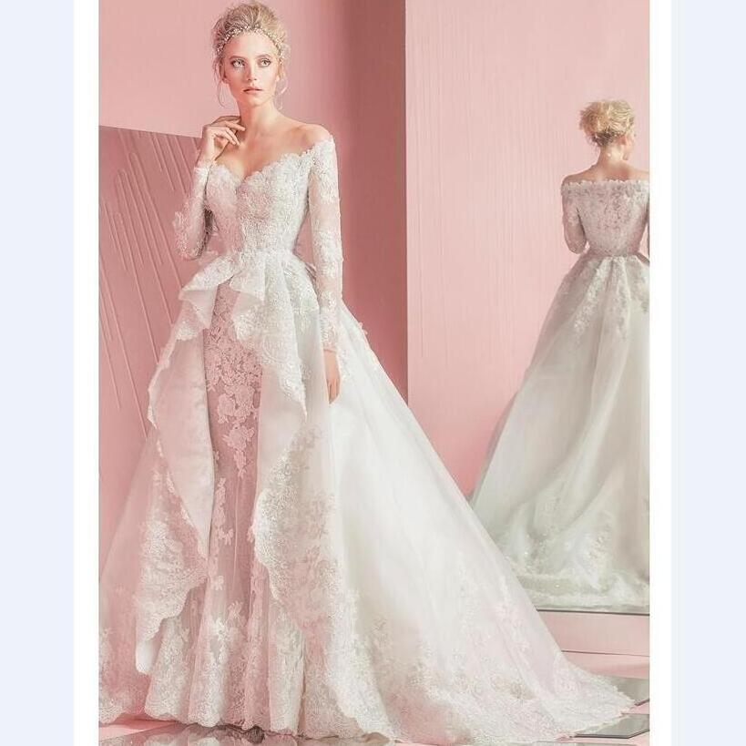 Removable Wedding Gown Dress: Zuhair Murad 2016 Long Sleeve Lace Mermaid Wedding Dresses